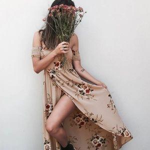 Dresses & Skirts - Sexy Off The Shoulder Floral Split Front Dress